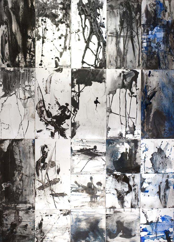 DSC08635 .....durch Räume gehen 2; 2020; Tusche und Steinmehl auf Metall; 23 Tafeln 140 x 100 cm